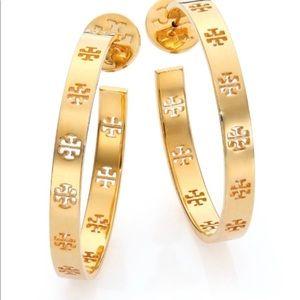 Tory Burch Gold Plated Hoop Earrings